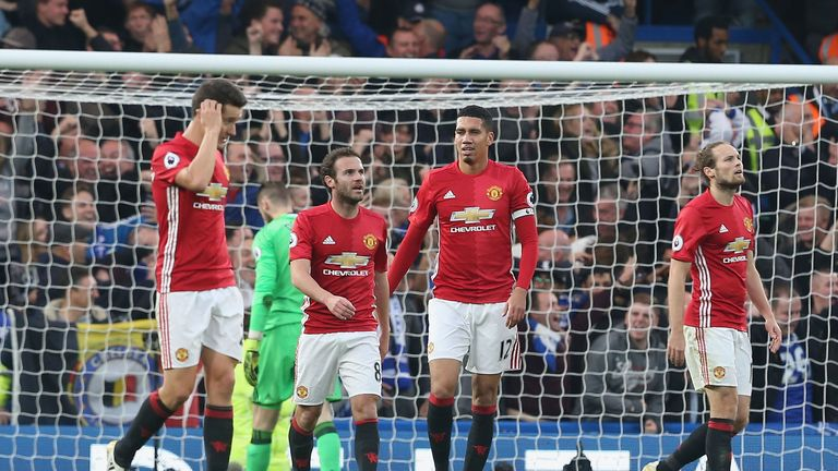 Chris Smalling and Juan Mata look dejected after a heavy defeat by Chelsea