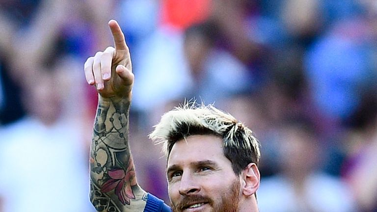 Lionel Messi scored with just his third touch on his Barcelona return