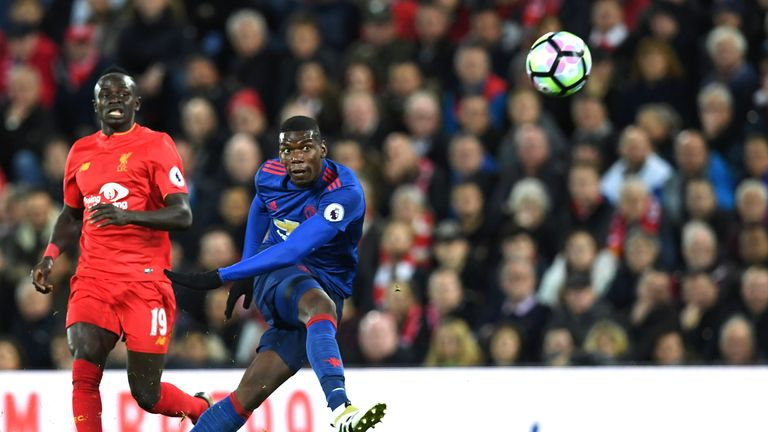 Paul Pogba had a wayward first-half shot which sailed into the Kop