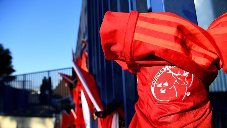 A Munster jersey hangs on the gate of the Yves du Manoir stadium in tribute to late head coach Anthony Foley
