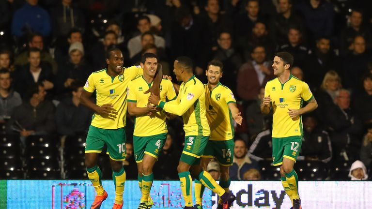 Graham Dorrans celebrates after scoring for Norwich against Fulham