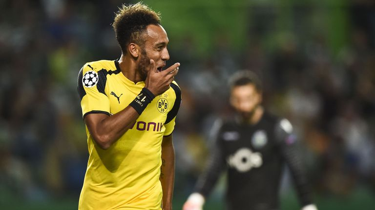 Dortmund striker Pierre-Emerick Aubameyang celebrates after scoring in the Champions League