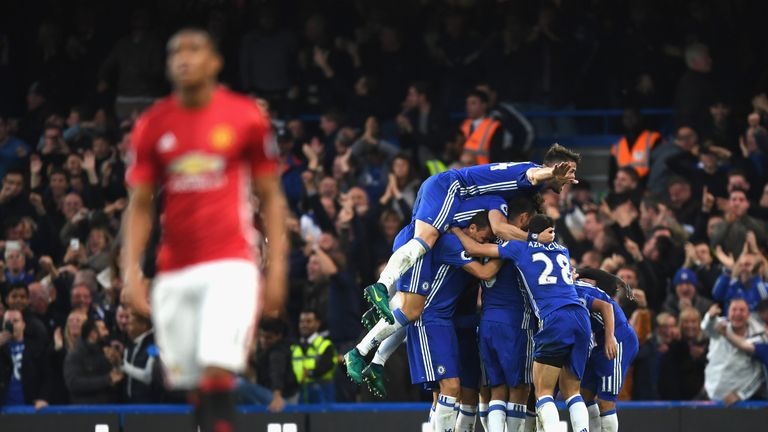 Chelsea players celebrate after going 4-0 up against Manchester United at Stamford Bridge