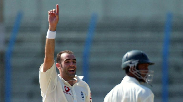 Richard Johnson celebrates one of his nine wickets in the second Test at Chittagong