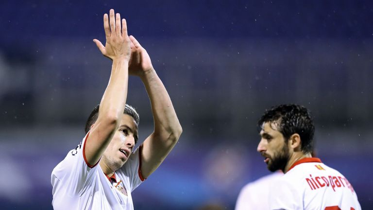 Samir Nasri scored the only goal of the game as Sevilla won at Dinamo Zagreb