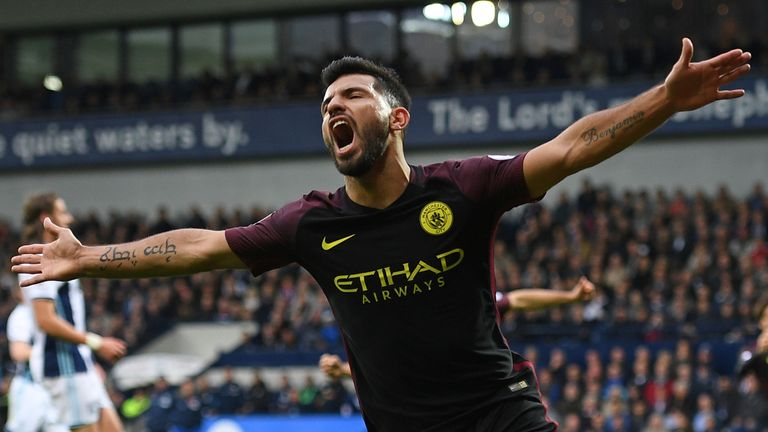 Manchester City's striker Sergio Aguero is the league's joint-top scorer