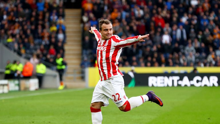Xherdan Shaqiri is happy at Stoke according to Potters boss Mark Hughes