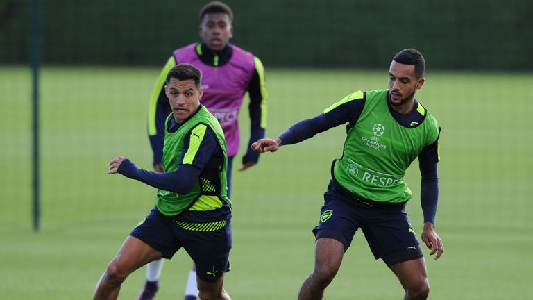 Theo Walcott [right] and Alexis Sanchez prepare to face Ludogorets