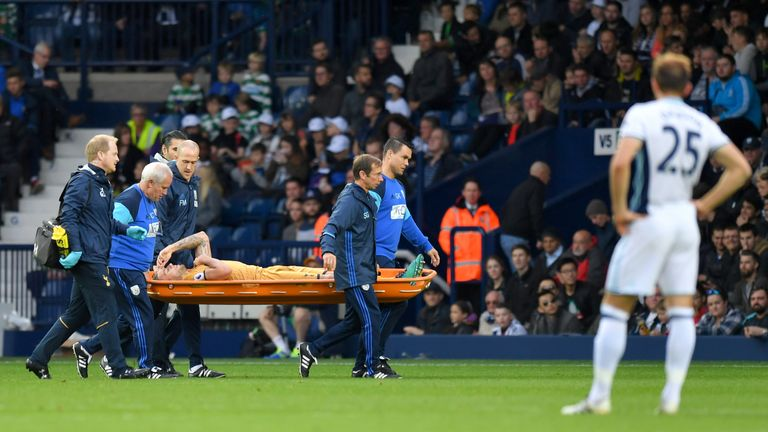 Alderweireld was carried off on a stretcher at The Hawthorns