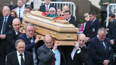 Former Munster players (left-right) John Langford, Mick Galwey, Peter Clohessy and Keith Wood carry Anthony Foley's coffin in Killaloe, Co. Clare
