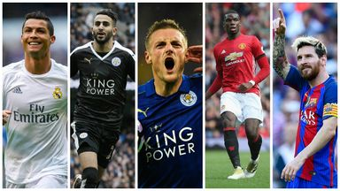 Cristiano Ronaldo, Riyad Mahrez, Jamie Vardy, Paul Pogba and Lionel Messi are on the shortlist