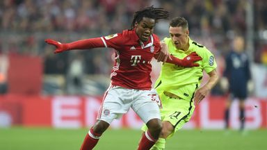 Bayern Munich's Renato Sanches vies for possession against Augsburg