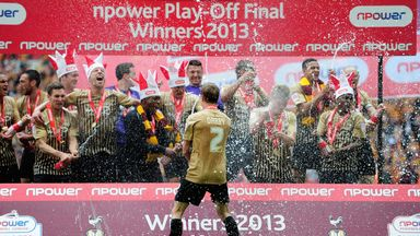 Bradford celebrate promotion to League One after victory in 2012/13 the play-off final