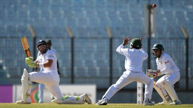 Jonny Bairstow sweeps on day three of the first Test against Bangladesh