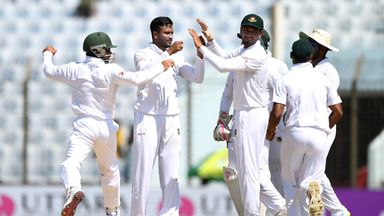 CHITTAGONG, BANGLADESH - OCTOBER 22:  Shakib Al Hasan of Bangladesh celebrates with teammates after dismissing Ben Duckett of England during the 3rd day of