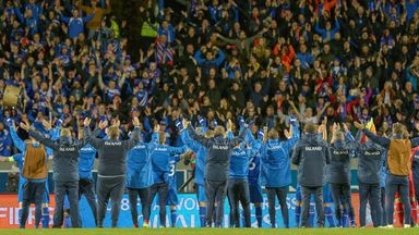 Iceland celebrate a dramatic victory over Finland in a recent World Cup qialifier