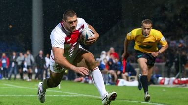 Ryan Hall goes over for one of his tries, his tally for England now 28 in 28 games
