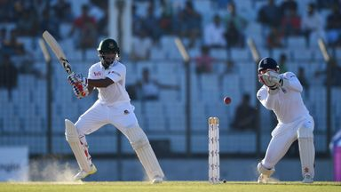 Shakib Al Hasan bats during day two of the first Test between Bangladesh and England