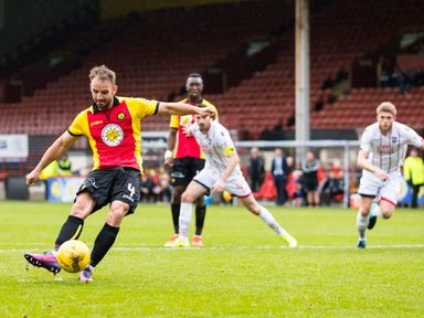 Partick's Sean Welsh scores from the penalty spot