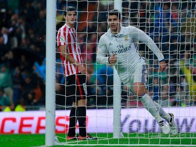 Alvaro Morata of Real Madrid CF celebrates scoring their second goal