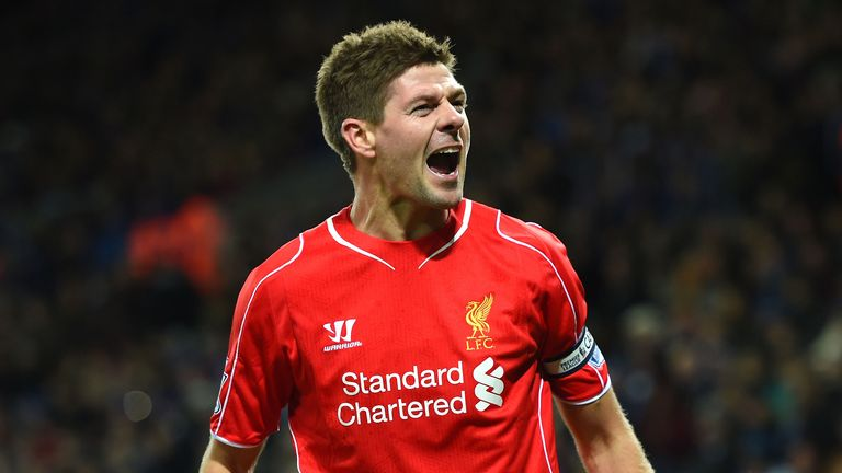 LEICESTER, ENGLAND - DECEMBER 02:  Steven Gerrard of Liverpool celebrates after scoring his team's second goal during the Barclays Premier League match bet