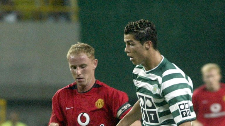 Ronaldo in action for Sporting Lisbon against Manchester United in 2003