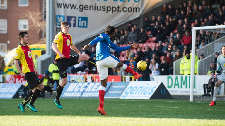 Joe Dodoo volleys the first of his double against Partick Thistle last weekend