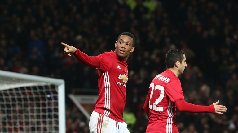 Anthony Martial scored twice in Manchester United's win over West Ham