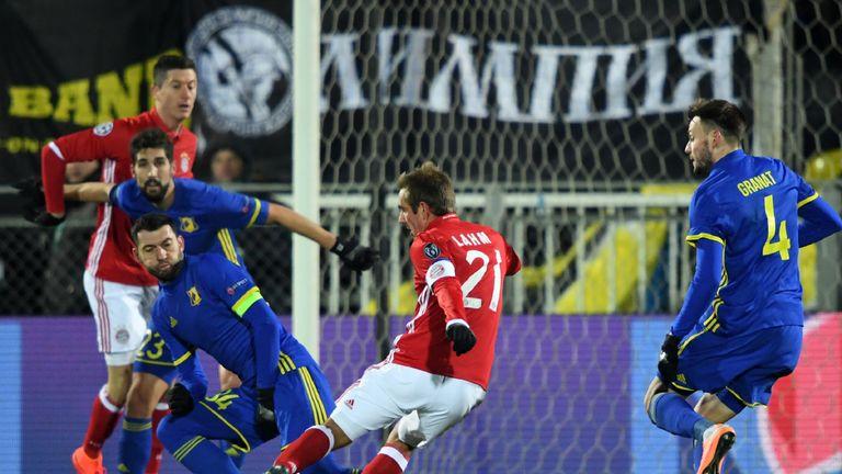 Bayern Munich Philipp Lahm shoots