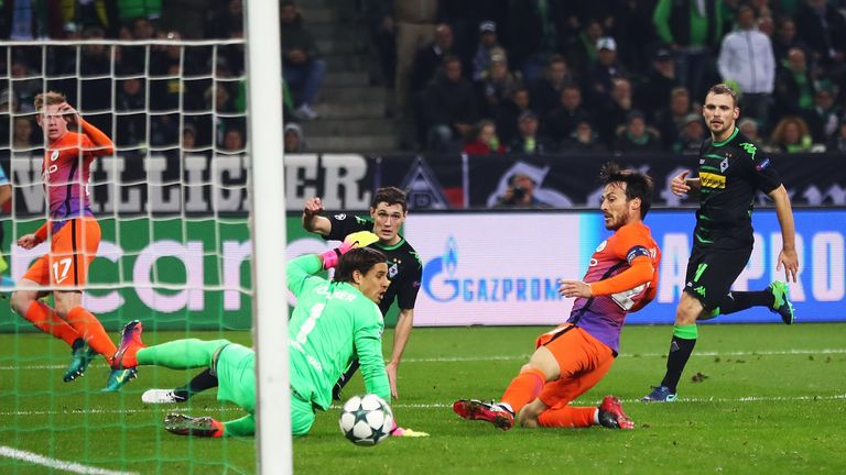 David Silva equalises for Manchester City against Borussia Monchengladbach
