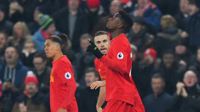 Origi celebrates scoring his side's first goal 15 minutes from the end of their meeting with Sunderland