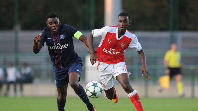 Eddie Nketiah scored twice against Paris St Germain U19s