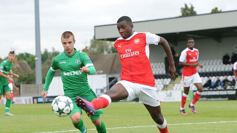 Eddie Nketiah in action in the UEFA Youth League against Ludogorets