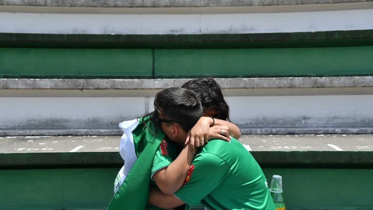Fans gathered in shock after the accident involving the Chapecoense team