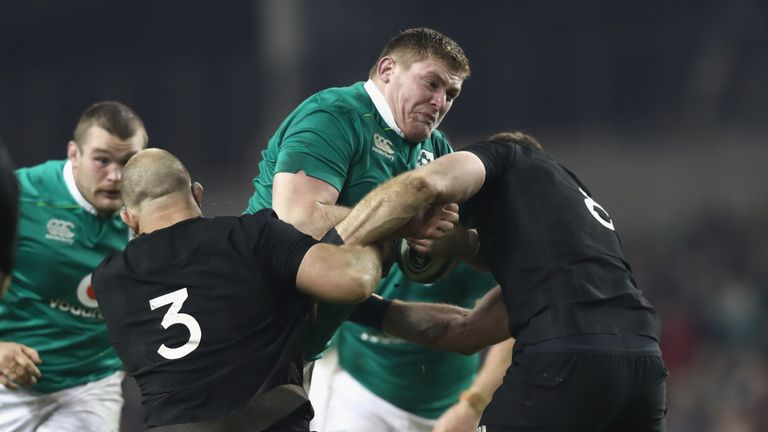 England will face Tadhg Furlong and Jack McGrath (background) in the scrum this weekend