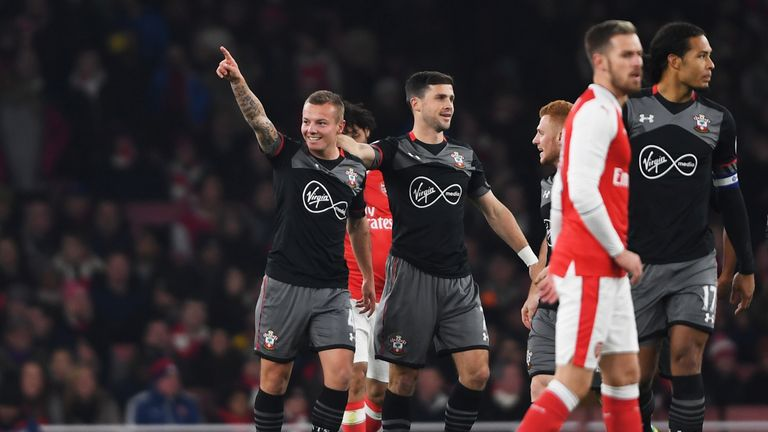 Jordy Clasie of Southampton celebrates after scoring the opener against Arsenal in the EFL Cup