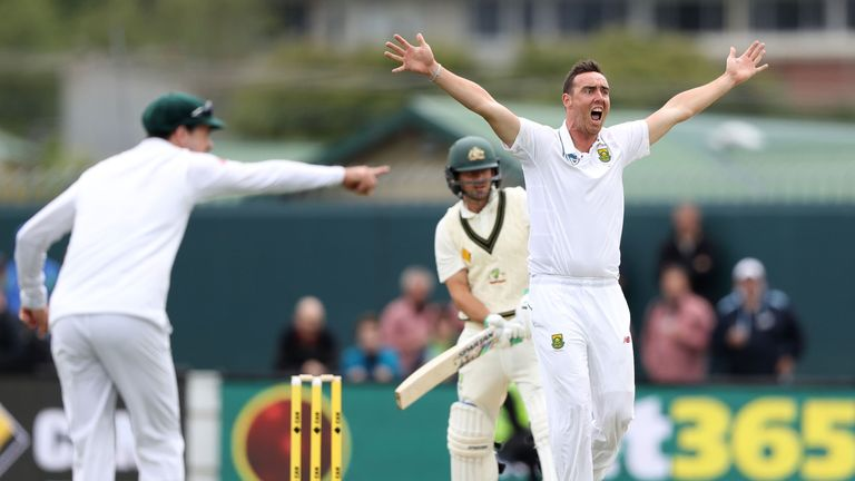 Abbott appeals for the wicket of Joe Burns of Australia