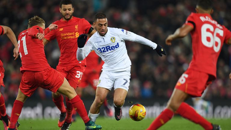 Leeds' Kemar Roofe struck the post in the second half