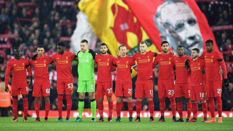 Liverpool players pay tribute to the victims of the Colombia plane crash before the EFL Cup tie with Leeds