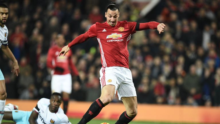 United striker Zlatan Ibrahimovic opens the scoring