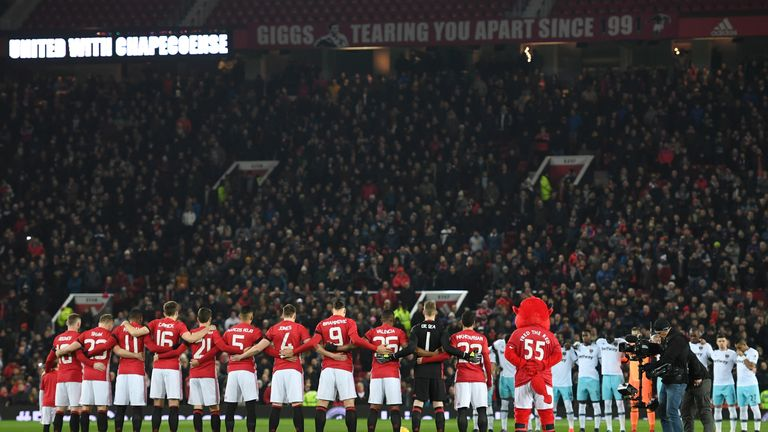 Both teams observe a minute's silence ahead of the EFL Cup match between Manchester United and West Ham