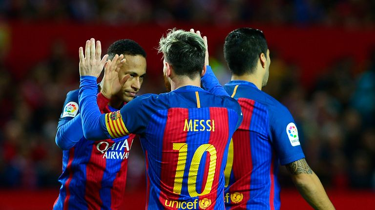 Messi Celebrating Scoring against Sevilla with Luis Saurez and Neymar
