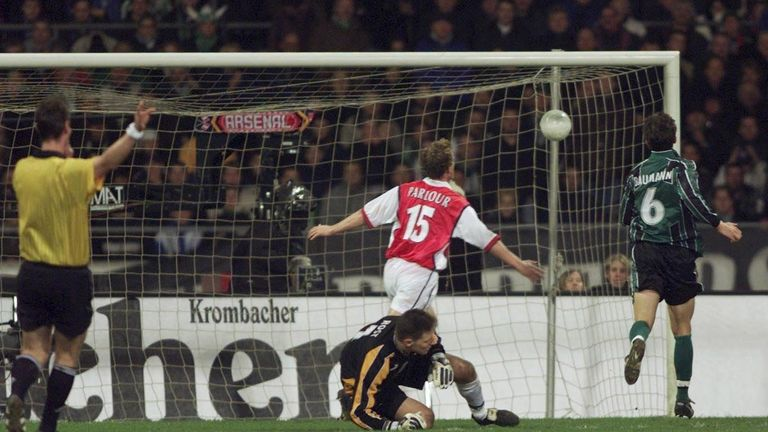 Arsenal posted this picture of Ray Parlour scoring his third against Werder Bremen in 2000