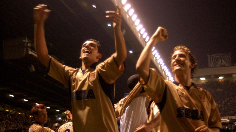 Parlour (R) and Edu were part of the Arsenal side that won the title at Old Trafford in May 2002