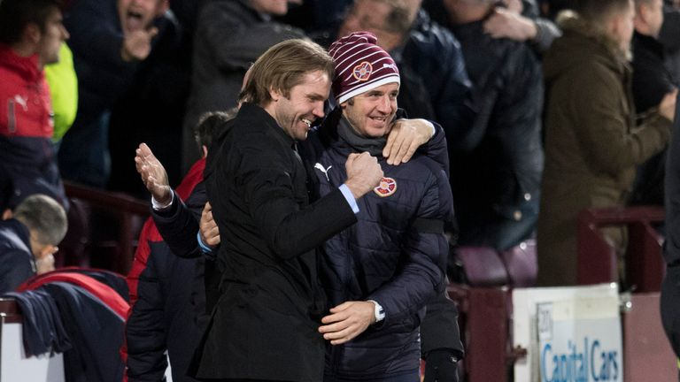 Neilson and coach Stevie Crawford celebrate the win over Rangers ahead of their move to MK Dons