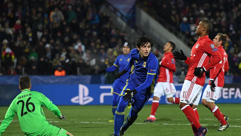 Rostov forward Sardar Azmoun celebrates after scoring his team's first goal against Bayern