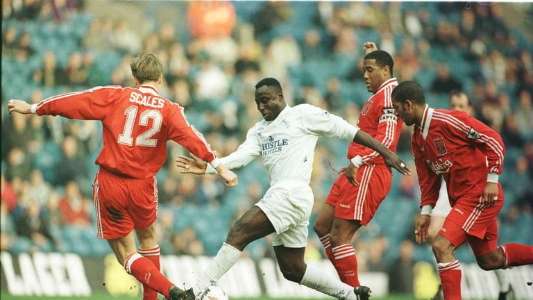 Tony Yeboah in action against Liverpool at Elland Road