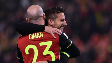 Dries Mertens (R) celebrates with Belgium team-mate Laurent Ciman