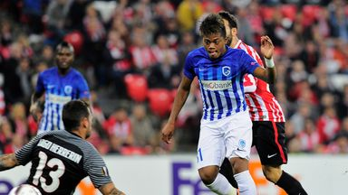 Leon Bailey (2nd right) seen here scoring for Genk against Athletic Bilbao in the Europa League
