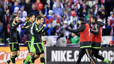 Mexico celebrate at the full-time whistle after Rafael Marquez's late winner